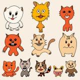 Set of cute cat cartoon Stock Photography