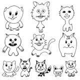 Set of cute cat cartoon Stock Images