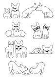 Set of cat and dog pairs. Set of cute cat and dog pairs, Various posing without colors stock illustration