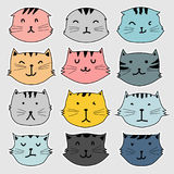 Set of cute cat doodle. Vector illustration EPS 10 Royalty Free Stock Photos