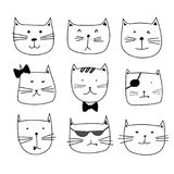 Set of cute cat doodle. Vector illustration EPS 10 Royalty Free Stock Photography