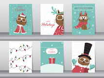 Set of cute cat greeting card, poster,templates,christmas,Vector illustrations Stock Photography