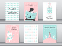 Set of cute cat greeting card, poster,templates,christmas,Vector illustrations Stock Image