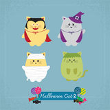 Set of cute cat in Halloween costumes Royalty Free Stock Images