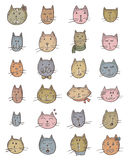 Set of cute cat's faces. Royalty Free Stock Images