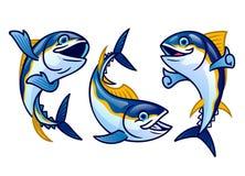 Set cute cartoon of tuna fish