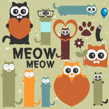 Set of cute cats Royalty Free Stock Photography
