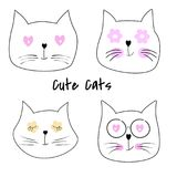 Set cute cats cartoon vector illustration. Sweet kids graphics for t-shirts royalty free illustration