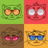 Set of cute cats. Set of cat outline retro faces in glasses,  illustration Royalty Free Stock Photography