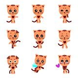 Cute cats. Cat in kawaii style. Vector set. royalty free illustration