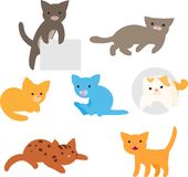 Set of cute cats royalty free illustration