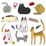 Set of Cute cats and goods Royalty Free Stock Photos
