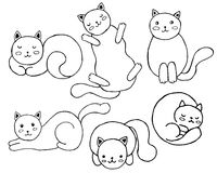 Set of cute cats. Royalty Free Stock Photos