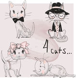 Set with cute cats Stock Images