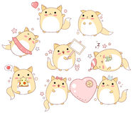 Set of cute cats in kawaii style Stock Image