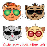 Set of cute cats. In modern glasses  illustration, retro cat faces with different impressions Stock Photo