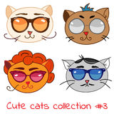 Set of cute cats. In modern glasses  illustration, retro cat faces with different impressions Royalty Free Stock Image