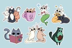 Set of cute cats stickers. Avocado cat, coffee-cat. Cat reading stock illustration