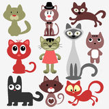 Set of cute cats Stock Images
