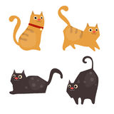 Set of cute cats. Vector set of cute cats on white background. Cats made in cartoon style stock illustration