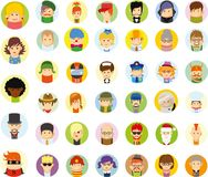 Set of cute character avatar icons,vector Stock Images