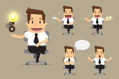Set of cute characters businessman and office worker poses in va. Rious.vector Royalty Free Stock Photo