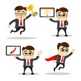 Set of cute characters businessman and office worker poses. Vector. Manager character. Arrow. Hero. Cup. Set of cute characters businessman and office worker Royalty Free Stock Photography