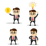 Set of cute characters businessman and office worker poses. Vector. Manager character. Flat illustration. Happy   new idea. Royalty Free Stock Photo
