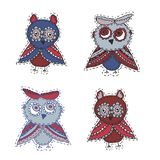 Set Cute characters Cartoon owls and owlets birds sketch doodle dark blue red burgundy  isolated on white background. Vector. Illustration Stock Photos