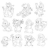 A set of cute characters for the new year. Christmas characters. Cartoon piglets and snowmen for coloring books.