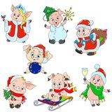 A set of cute characters for the new year. Christmas characters. Piggy cartoon for greeting card. Vector for design. A set of cute characters for the new year royalty free illustration
