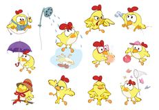 Set of Cute Chickens in Different Poses for you Design. Cartoon Character Royalty Free Stock Images