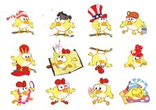 Set of Cute Chickens in Different Poses for you Design. Cartoon Character stock illustration