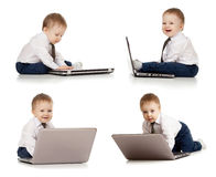 Set of cute child using laptop. Set of adorable child using laptop Royalty Free Stock Photography