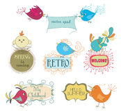 Set of cute childish birds and stylish frames with slogans Royalty Free Stock Images
