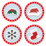 Set of cute children`s Christmas and winter stickers. Stock Photos