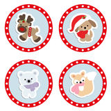 Set of cute children`s Christmas and winter stickers. Stock Image