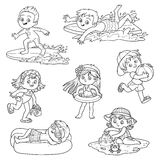 Set of cute children on summer vacation. Happy childhood. Black and white characters in cartoon style Stock Images