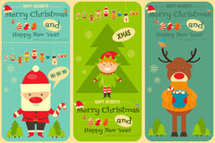 Set of Cute Christmas Cards Stock Photos