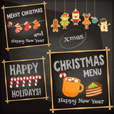 Set of Cute Christmas Character. Christmas characters on Chalkboard. Cafe Sweet  Menu. Vector Illustration Stock Image