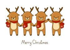 Set of cute Christmas deers Stock Image
