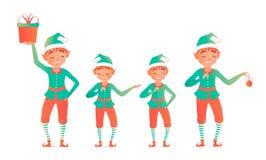 Set of cute christmas elves. Vector illustration. Little child stock illustration