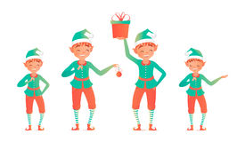 Set of cute christmas elves. Vector illustration. Stock Photo