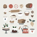 Set of cute Christmas food and drink icons. Roasted turkey, Christmas cake, cinnamon bun, coffee, gingerbread cookies stock illustration