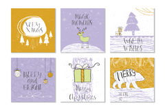 Set of 6 cute Christmas gift cards with quote Royalty Free Stock Photography