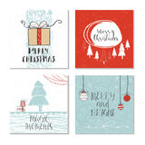 Set of 4 cute Christmas gift cards Stock Image