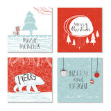 Set of 4 cute Christmas gift cards with quote Royalty Free Stock Image