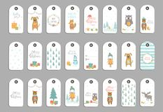 Set of 24 cute Christmas gift tags, cards with lettering Merry C. Hristmas, animals, presets, tree and snowflakes. Easy  template. Perfect  illustration for Stock Image