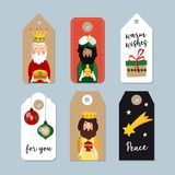 Set of cute Christmas gift tags. Three magi. Biblical kings Caspar, Melchior and Balthazar. Vector illustration. Backgrounds. Isolated vector objects for Stock Photography