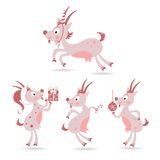 Set of cute Christmas goats Stock Images